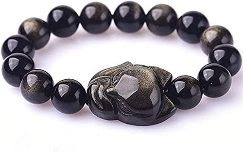Pulseras con cuentas de piedras preciosas premium Accesorios de zorro pequeño tallado Feng Shui Bracelet Natural Gold Obsidian Redondo Beads Atraer Peach Blossom Buena suerte Dinero para hombres / muj