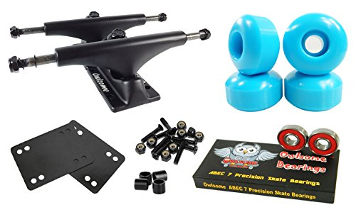 Owlsome 5.0 Black Aluminum Skateboard Trucks w/ 52mm Wheels Combo Set (Baby Blue)