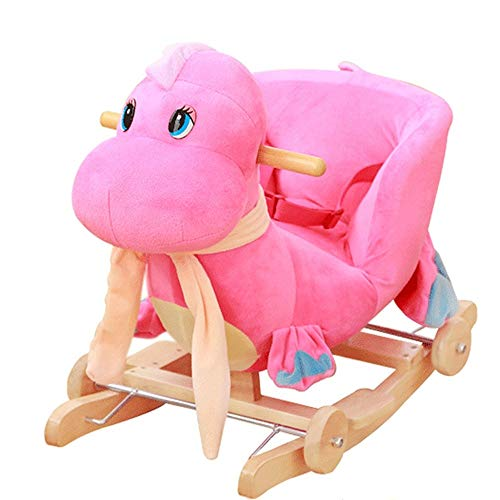 LALAWO Children's leisure chair Children's Wooden Horse Baby Rocking Horse With Music Solid Wood Dual-use Rocking Chair Baby Educational Toys 60 * 28 * 41cm (Color : Pink)