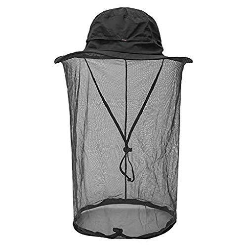 Mosquito Head Net Hat, Sun Hat Safari Hat with Mesh Face Cover for Men Women Black