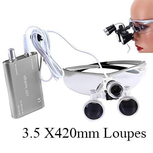 Mike-Dental Labor Lupenbrille Kopflupe Brillenlupe 3.5x420mm Loupes + Headlamp