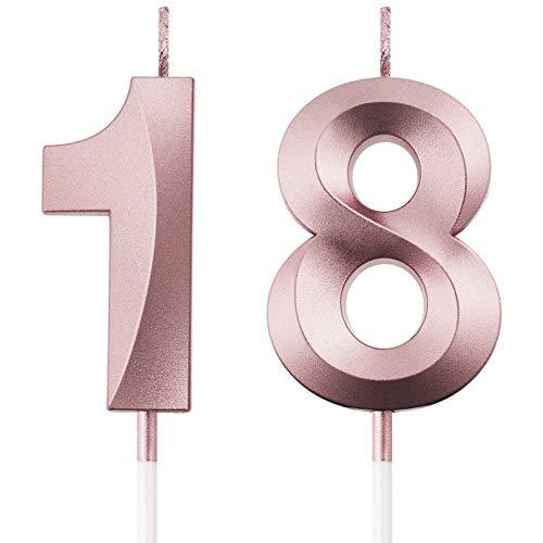 Velas de Cumpleaños 18 Velas de Numeros de Pastel Topper Decoración de Pastel de Feliz Cumpleaños para Cumpleaños Boda Aniversario Celebración, Oro Rosa
