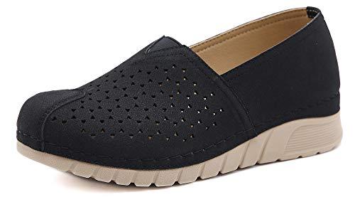 ChayChax Mujer Mocasines Plataforma Casual Zapatos de Cuña Comodos Ligero Loafers Primavera Verano