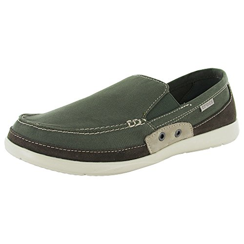 Crocs Mens Walu Accent Slip On Loafer Shoes, Army Green/Stucco, US 13