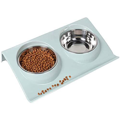 Bwelcam 2x400 ml Hundenapf Futternapf Katzen,Futternäpfe Hunde Katzen, Katzennäpf Doppelter Edelstahl rutschfest,FutternapfKatze,Futterschüssel Katze,katzenschüssel Set (blau)