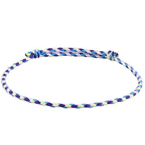 C.QUAN CHI Gewebte Strand Armband zum Frau String Sead Perlen Wachs Seil Geflochten Einstellbar Armband Handgefertigt