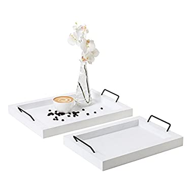 MyGift Set of 2 Country Rustic White Wood Finish Rectangular Nesting Serving Trays w/Metal Handles