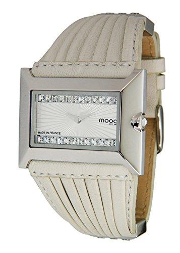 Moog Paris Temptation Damen Uhr mit Weißem Zifferblatt, Swarovski Elements & Weißem Armband aus echtem Leder - M45332-004