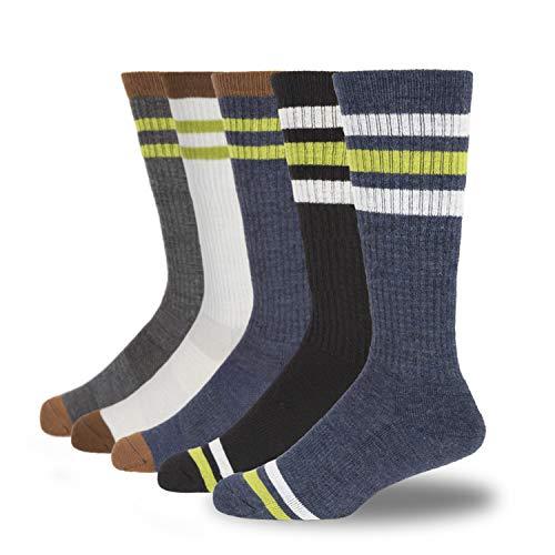 +MD 5 Pack Calcetines de senderismo de lana merino para hombre-Calcetines deportivos acolchados con rayas térmicas y cálidas