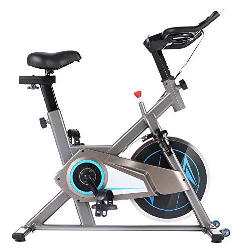 ANCHEER Bicicleta Estática de Spinning Bicicleta Interior Volante Inercia 10kg,Conexión con APP,Pantalla LCD, Sillín Ajustable, Carga máxima 120 kg,Altura Máxima Recomendada para Usuarios: 180cm.