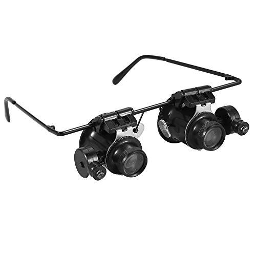 origin LEDライト搭載 メガネ型ルーペ 倍率 20倍 暗視対応LED搭載 角度調整可能 軽量 ダブルレンズ 虫眼鏡 眼鏡式両手解放 眼鏡ルーペ 時計修理 宝石鑑定 彫刻などに SKIA2989II