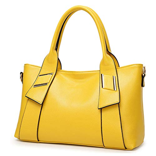 Tibes Fashion Synthetic Leather Handbag Messenger Bag for Women Yellow Purse