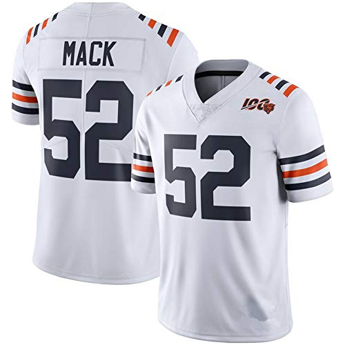 Hombres Rugby Jersey Chicago Bears # 52 Khalil Mack, Retro Gym Sports Top Rugby Camiseta de fútbol Americano