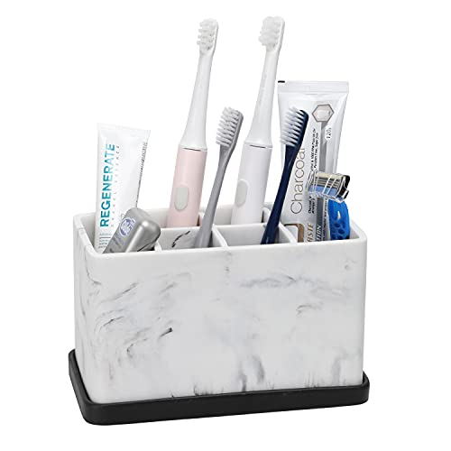 ZCCZ Toothbrush Holder, Marble Look Electric Toothbrush and Toothpaste Holder Stand Bathroom Organizer for Toothbrush, Toothpaste, Dental Floss, Razor, Comb, Makeup Brushes and More