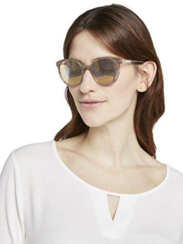TOM TAILOR Damen Eyewear Abgerundete Sonnenbrille light brown structure,OneSize,e165,8000