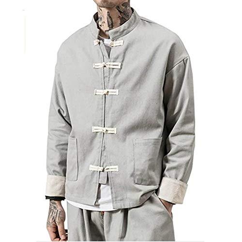 AGYE Tai Chi Kleidung Herren, Herren Kung Fu Tai Chi Uniform Leinenmäntel China Handgemachte Herbst Und Winter Baumwolle Und Leinen Kleidung Wing Chun Kleidung Tang Shirt Martial Art,Grey-5XL
