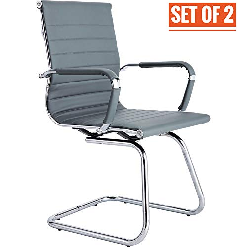 CoVibrant Modern Office Chair Without Wheels Waiting Room Chairs with Arms for Reception Desk Conference Area (2 Pack, Gray)