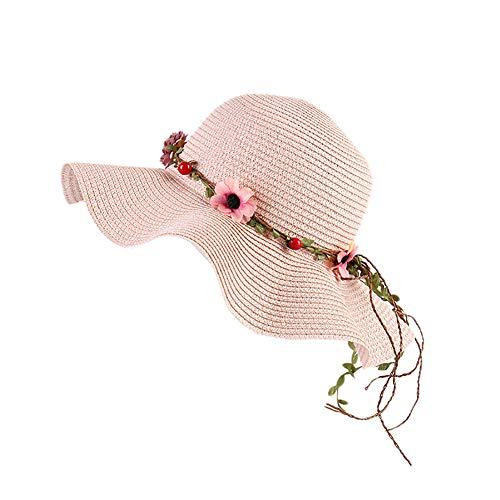 Demarkt Kids Girls Sun Hat Beach Cap Cap Garland Straw Hat Wide Brim Straw Hat Summer Hat, light pink, 52-54 cm