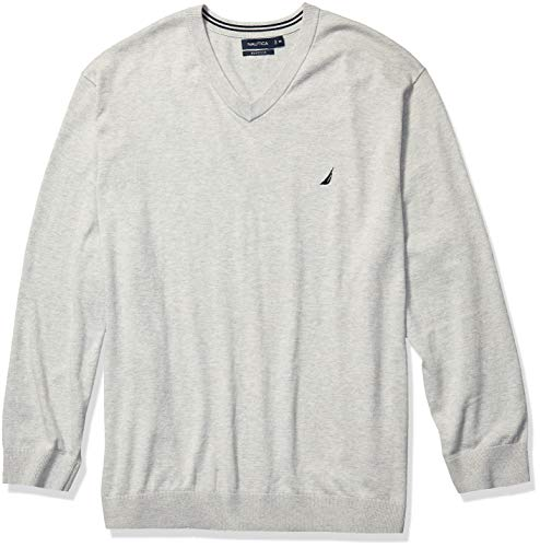 Nautica Men's Big Navtech Jersey V-Neck Sweater, Grey Heather, 3XLT Tall