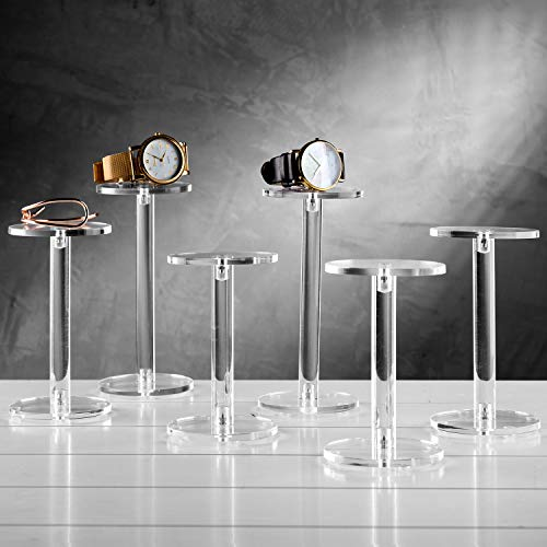MyGift Set of 6 Clear Round Acrylic Display Pedestal Riser Stands
