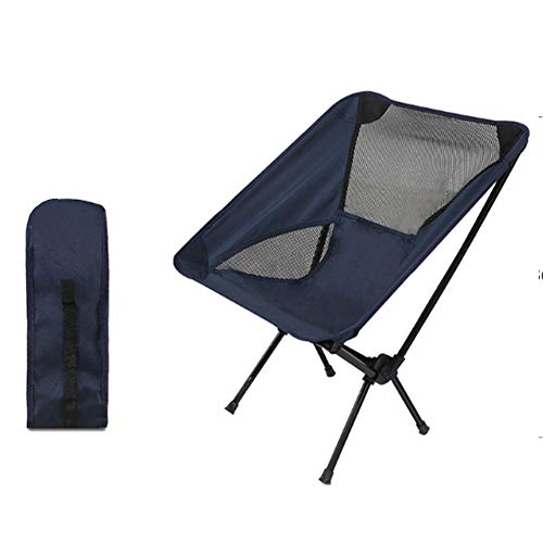 FF&XX Outdoor Folding Beach Chair,Ultralight Portable Camping Chair,Outdoor Sketch Chair Moon Chair,Breathablem Comfortable Fishing Chair Navy 68x54x35cm