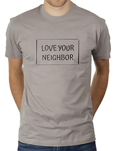 KaterLikoli Love Your Neighbor - Camiseta para hombre gris claro XXL