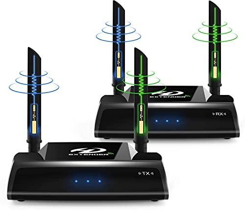 Upgrade PAKITE PAT-590 2.4/5.0GHz Wireless HD Extender Set für HDMI AV Empfänger und Sender, 200m 3D Digitale Übertragung Full-HD 1080p Extender mit IR Fernbedienung und HDMI Kabel (Schwarz)