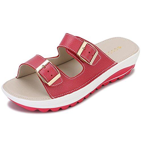 gracosy Sandalias de plataforma para mujer, de piel, casual, con cuña para playa, con suela basculante, zapatos de verano, sandalias planas para caminar, color Rosa, talla 35.5 EU