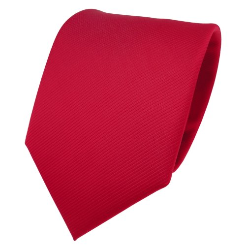 TigerTie TigerTie Designer Krawatte rot verkehrsrot knallrot Uni Rips - Binder Tie