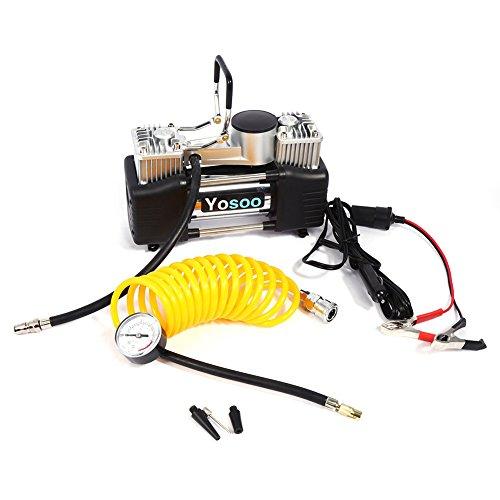 Gototop - Compresor de aire con doble pistón para neumáticos de coche, CC 12V 20A, con manómetro y tubo de aire enrollado, hasta 150PSI
