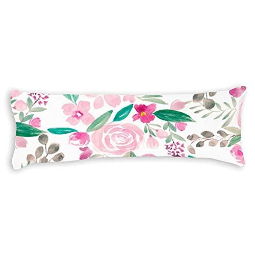 Promini Funda de almohada para el cuerpo de la acuarela, diseño retro, floral, rosa, gris, con cierre de cremallera oculta, para sofá, banco, cama, decoración del hogar, 50,8 x 137,2 cm