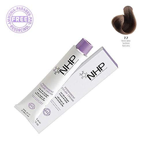 NHP Permanent Color Cream | 7.7 Rubio arena | Con aceite de argán mantequilla de cacao | Ingredientes biológicos certificados 100 ml