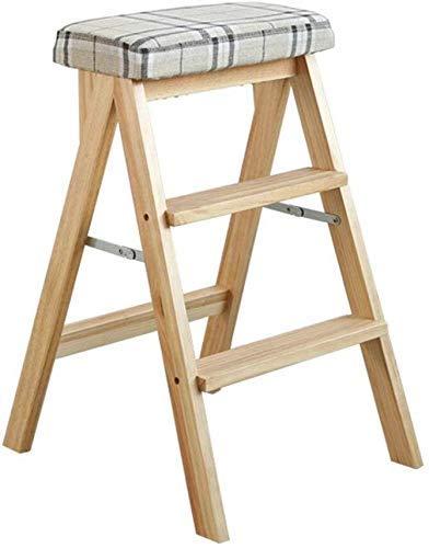 XCJJ Klappleiter Massivholz Klappstufen Hocker Praktischer multifunktionaler Holzküchenstuhl für den Büroeinsatz mit 3 Stufen