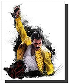 Zzjart HD Printed Oil Paintings Home Wall Decor Art on Canvas Freddie Mercury, Queen 2size#283 (Framed,12x16inch)