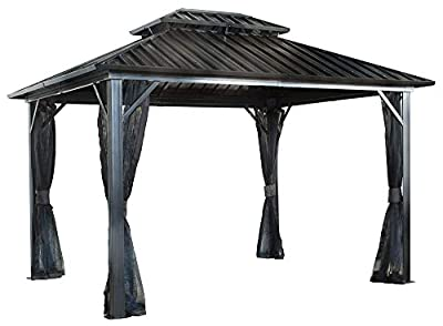 Sojag Genova Double Roof Hardtop Gazebo 4-Season Outdoor Sun Shelter with Mosquito Net
