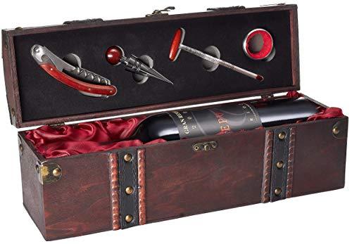 BRUBAKER Geschenkset Weinset mit 1 Flasche Rotwein Epulum Gran Reserva Rioja DOCa Jg. 2009 - trocken - in Holzkiste mit Sommelierset