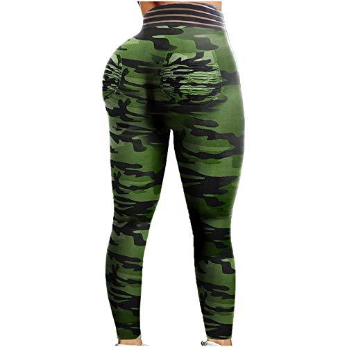 YRxUIAI Leggins deportivos anticelulitis para mujer, con cintura alta, para yoga, Push Up Pants, pantalones de compresión elásticos para entrenamiento, gimnasio, running, fitness Verde XL