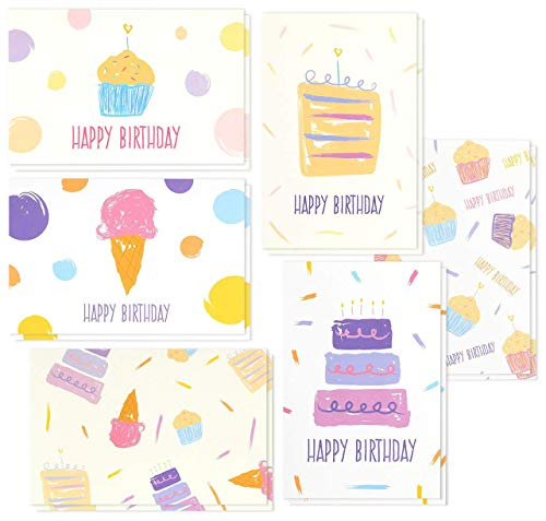 Birthday Card - 48-Pack Birthday Cards Box Set, Happy Birthday Cards - Painted Pastel Dessert Designs Birthday Card Bulk, Envelopes Included, 4 x 6 Inches