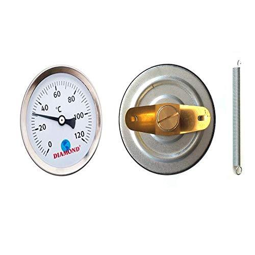 Thermomètre à clipser pour tuyau d'eau chaude 0-120 C 63 mm avec ressort en acier inoxydable