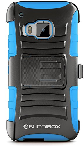 HTC One M9 Case, BUDDIBOX [HSeries] Heavy Duty Swivel Belt Clip Holster with Kickstand Maximal Protection Case for HTC One M9, (Blue)