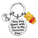 Winnie the Pooh Keyring Best Friend Gift Any Day Spent with You Is My Favorite Day Keyrings Friendship Inspirational Gift Pooh Bear Ornament