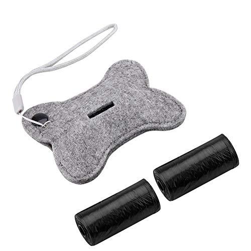 LZKW Hållbar behållare för hundbajs, bärbar bajspåsdispenser, filtduk snygg för de flesta hundbajspåsar rullar husdjur bära bajspåsar (ben)