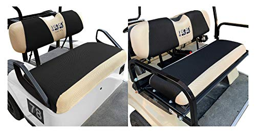 10L0L Golf Cart Front + Rear Seat Cover Set for EZGO TXT RXV & Club Car DS 4 Passenger Models Bench Seat Covers Kit...