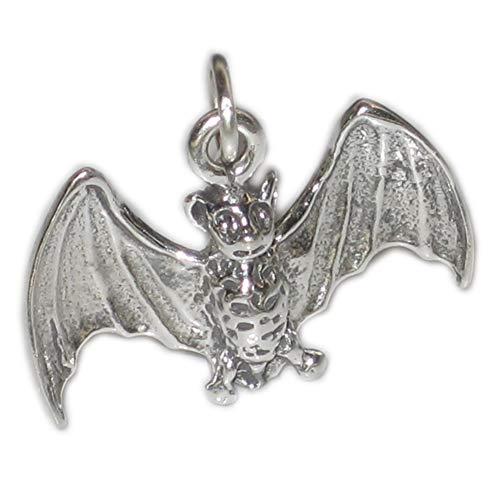 Bat flying sterling silver charm - pendant .925 x 1 Bats charms -SFP