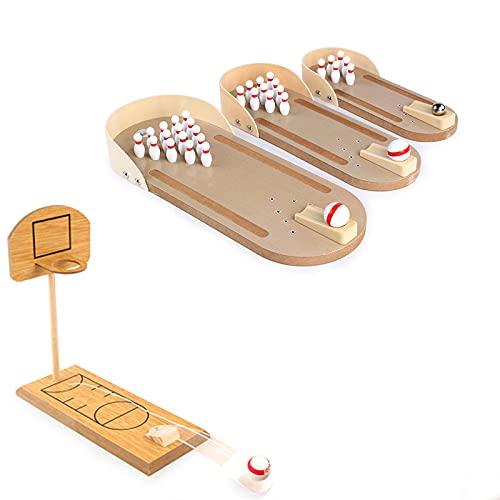 YANZHU Mini juguetes de baloncesto de madera de la tabla de bolos, juego de tablero de la descompresión del niño del padre adulto,Mini juego de bolos