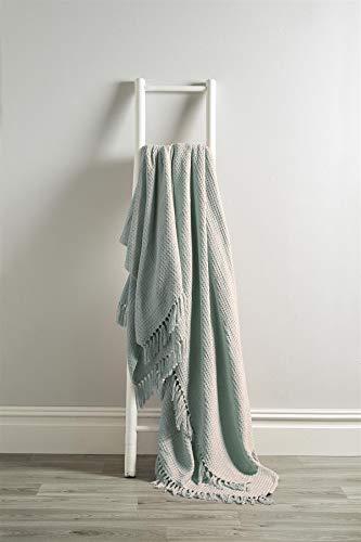 Olivia Rocco Lissabon Überwurf aus 100% Baumwolle, einfarbig, Wabenmuster, für Sofa, Bett, Stuhl, dekorative Decke, 228 x 254 cm, silberfarben