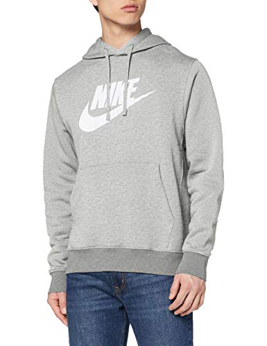 Nike Herren Sweatshirt NSW Club Hoodie PO BB GX, Dk Grey Heather/Matte Silver/(White), M, BV2973, 193147718997