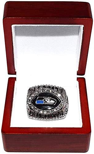 WANZIJING Super Bowl XL-Champion Ring, Seattle Seahawks 2005 NFC Champion Vintage-Rare Sammlerstück Replica Silber Fußball-Meisterschaft Ring-Größe 11,with Box