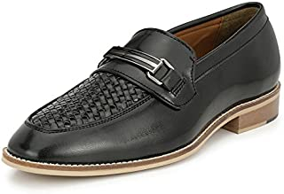 AFROJACK Men's Handstiched Slip On Mocassions (Leather Sole/Burnish Effect Collection/Penny Loafers)