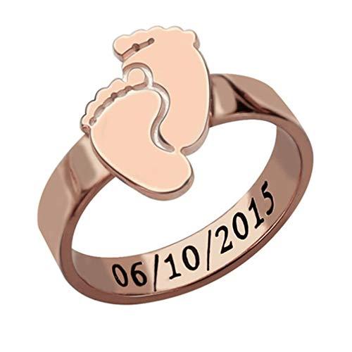 RYTUUFKJGS Anillo Personalizado para Mujer Anillo Personalizado con Nombre Anillo Grabado Tiempo Pies del Bebé Anillo De Plata 925(Oro Rosa 17.25)
